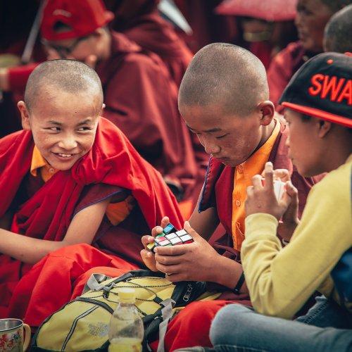Buddhist monastery novices, Choglamsar, India