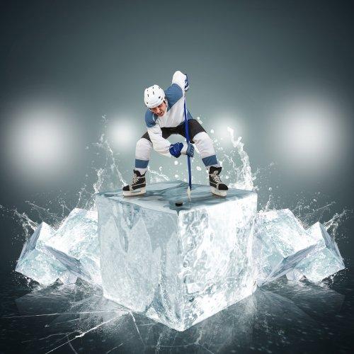 Hockey player on ice cube