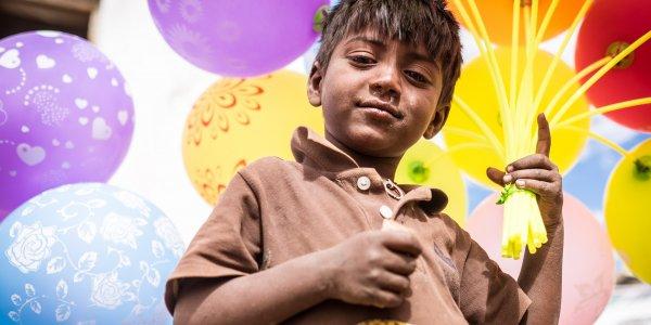Little baloon seller portrait